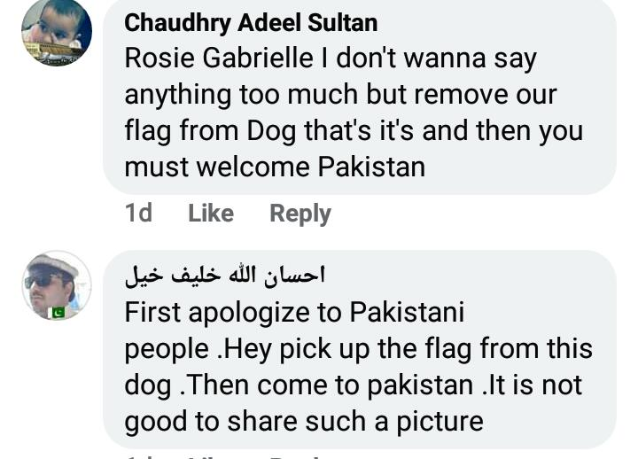 Rosie Gabrielle Receives Hate For Dressing Dog In Pakistani Flag 19